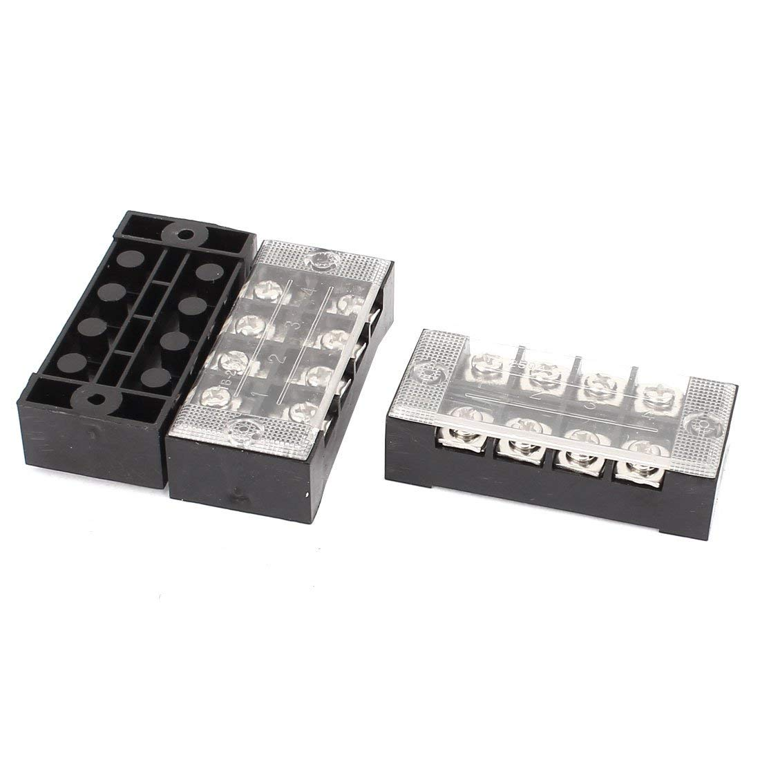 Aexit 3 Pcs 600V 25A 4P Dual Row Barrier Terminal Block Cable Connector Bar