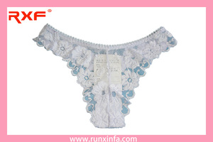 White and blue lace thong panties