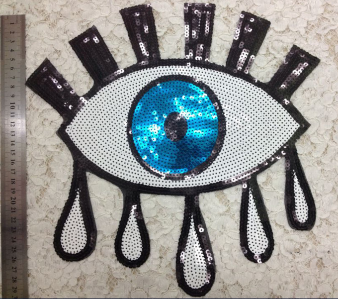 GUGUTREE 25*30cm big sequins eyes patches,embroidery big patches for jackets BP-440