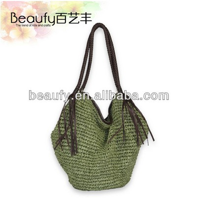 Direct selling lady's lovely crochet paper string shoulder bags 2015