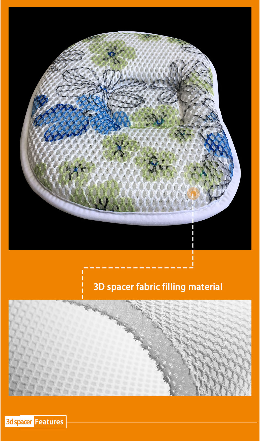 Top quality butterfly OEM 100% polyester custom logo air flow baby pillow 3d mesh for flat head