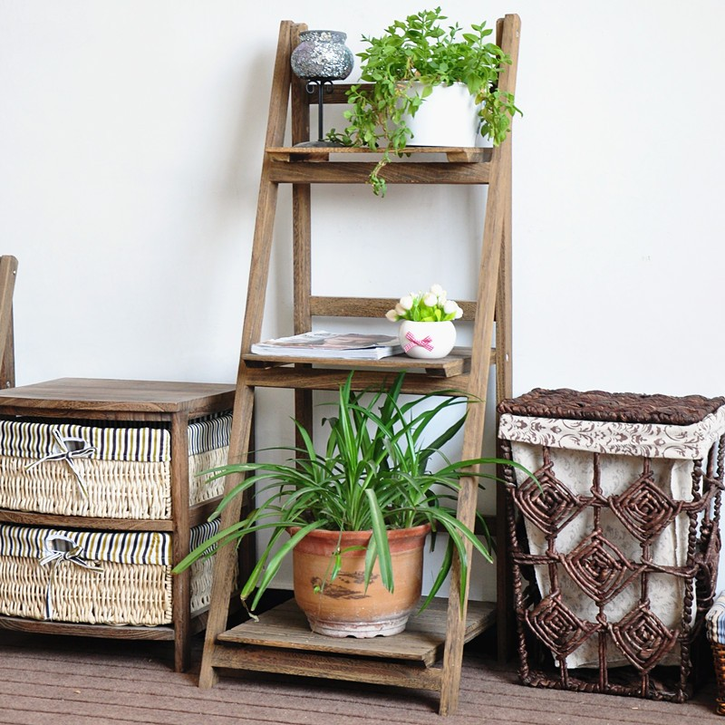 Decoration Folding Wooden Plant Stand With Three Shelves