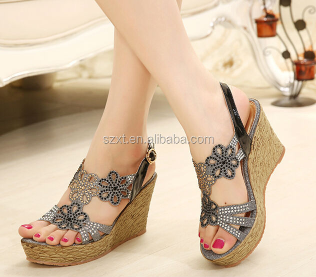 2014 new style wedge heel sandal shoes girls hollow out wedge heel ...