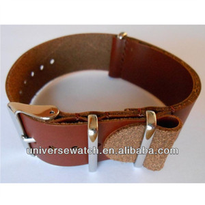 Custom 21mm brown NATO genuine leather watch strap with 316L stainless steel watch buckle