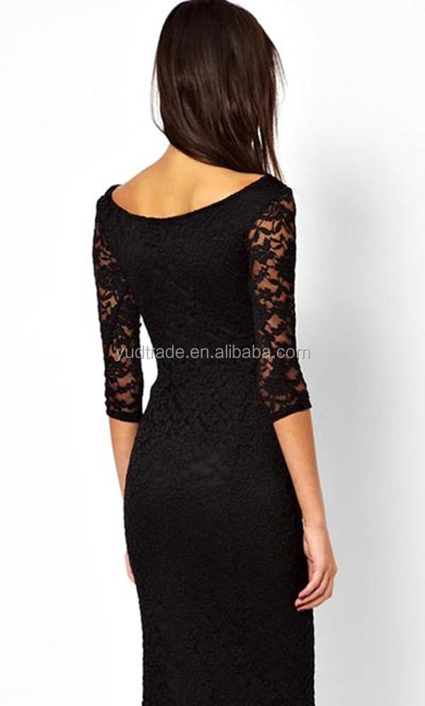 Black Knee Length Dress Patterns Of Lace Evening Dress - Buy ...