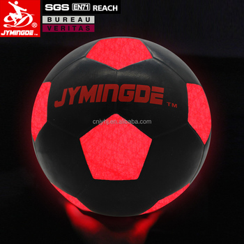Luminous glow in the dark two high bright LED lights rubber LED soccer ball