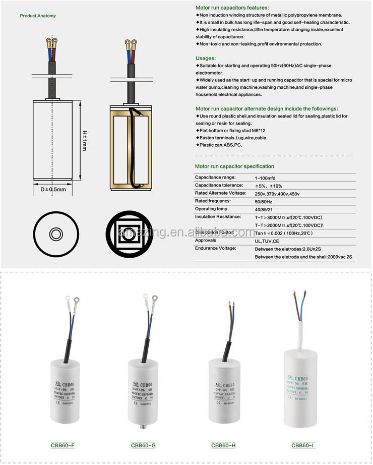 Capacitor Cbb60 500v/ Cbb60 Start Capacitor/ Motor Capacitor Cbb60 ...