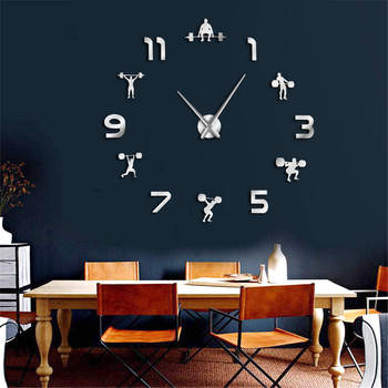 weightlifting fitness diy giant clock gym wall sticker watch 3d