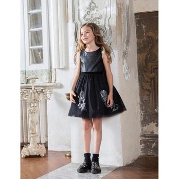 Customized brand fashion sequin tutu and pu leather dress for girls