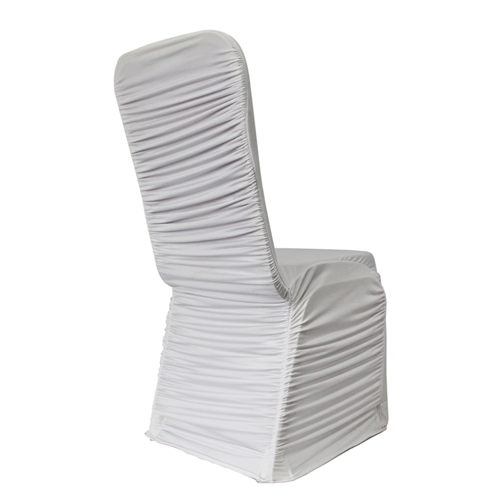 YT09513 cheap wholesale white wedding spandex ruched chair cover
