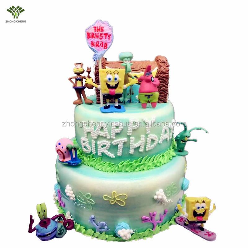 Spongebob Cake Topper Patrick Star Cake Picks Stand Cartoon Plastic