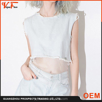 Latest fashion women tank top wish fish net bottom ladies crop top with mesh bottom