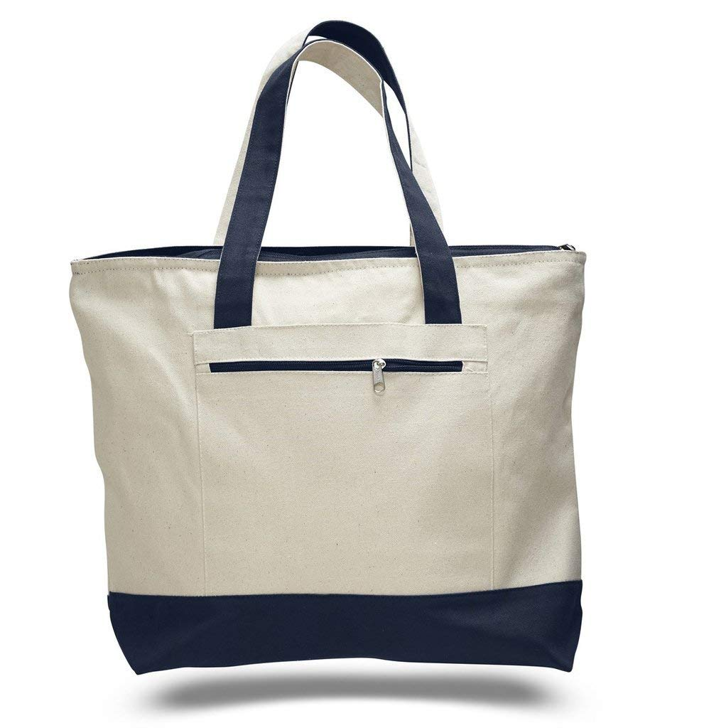 Pack of 3 Heavy Duty Canvas Tote Bags with Zipper Closure and Zipper Pocket  on One e95609d301db