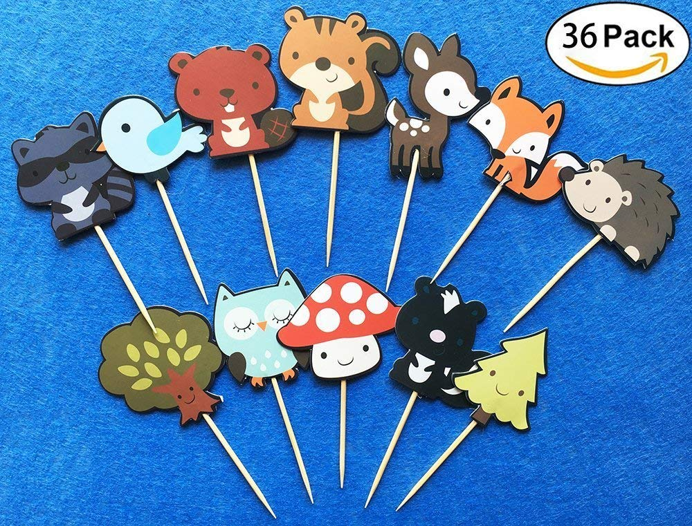 Cute Woodland Creatures Cupcake Toppers Picks, Woodland Animal Friends Cake Toppers, Kids Woodland Theme Baby Shower Birthday Party Cake Decoration Supplies By ZiYan, Set of 36