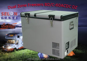 32L/24L 60L HOT SALE Outdoor Dual Zone BD/C-60ACDC solar travel camping freezer 4x4 trailer with high quality