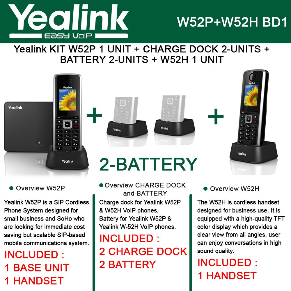 Yealink W52P IP DECT Phone +W52H Cordless Handset+2PACK CHARGEDOCK+2PACK Battery