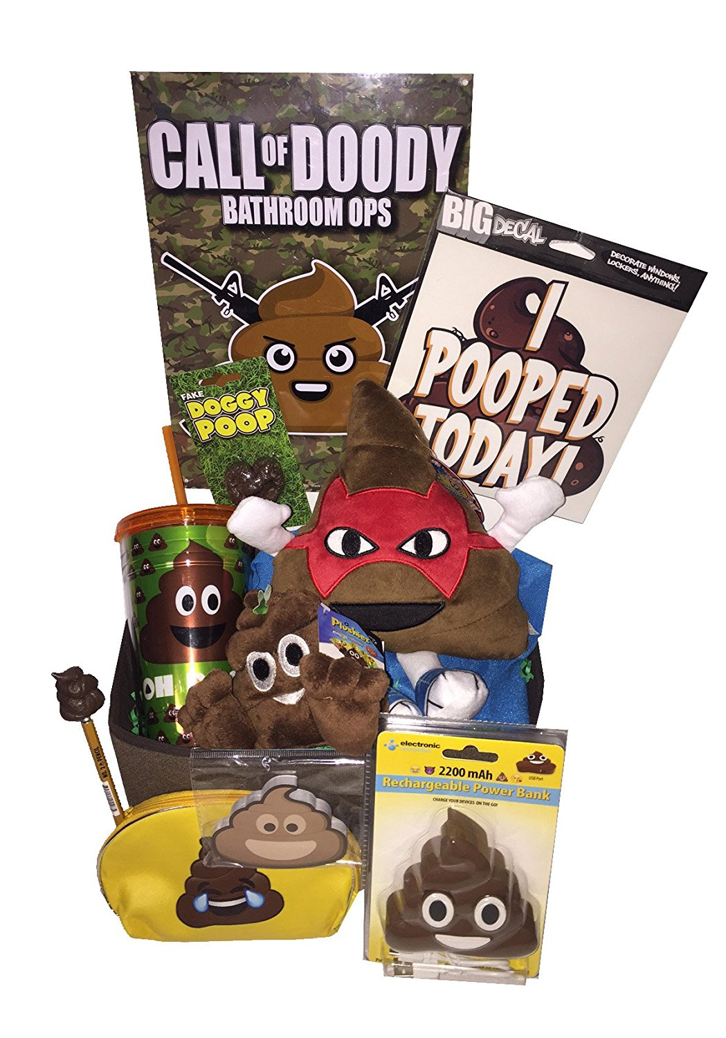 Ultimate CRAPPY EMOJI POO GIFT BASKET includes Poop Emoji Power Adapter and alot of other Crap - Ideal for Poop Obsessed, for Christmas, Constipated, Shts & Giggles, Get Well or Just Because