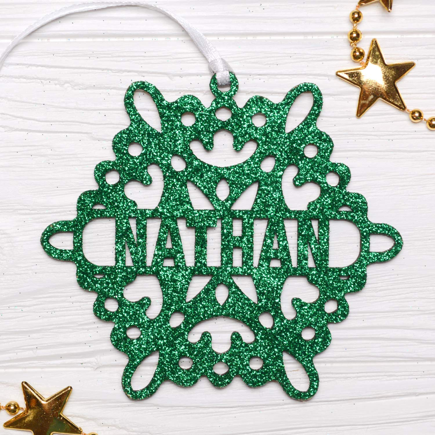 Personalized Christmas Snowflake/Green Glitter Snowflake, Wooden Snowflake Ornament, Christmas Decorations, Holiday Decor, Xmas Gifts