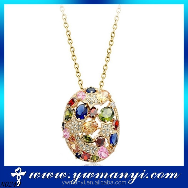 New Fashion exquisite Hot order colorful crystal rose gold make costume jewelry necklaces wholesale N0249
