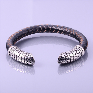 fashion Jewelry Braided Leather Bracelet 316L Stainless steel Bangle