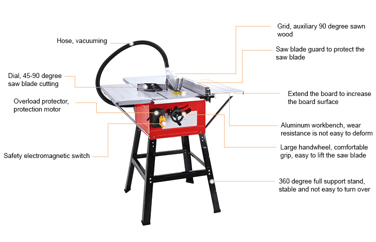 High speed safe powermatic industrial working mini wood table saw for woodworking