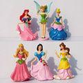 Free Shipping Princess Ariel 6pcs set 9cm Height PVC Cinderella Snow white Figure Toy Girl Gift