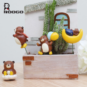 ROOGO miniature baby bear animal succulent plant pot statue for sale