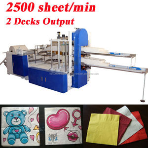 Fastest 2500 Piece Italy Design Embossing Printing Automatic High Speed Quarter fold Napkin Machine