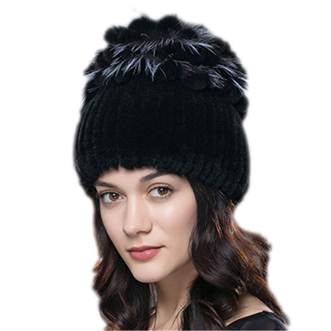 Women Fur Hat for Winter Natural Rex Rabbit Fox Fur Cap Russian Female Fur Headgear Fashion Warm Beanies Cap