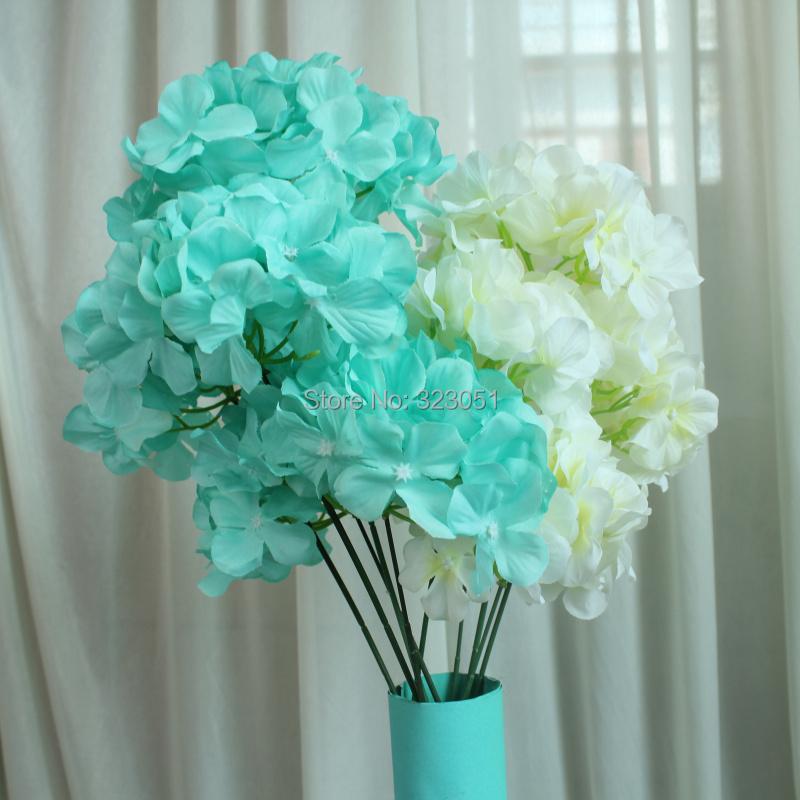tiffany blue 5 head hydrangea flower silk flower wedding props wholesale wedding flower in. Black Bedroom Furniture Sets. Home Design Ideas
