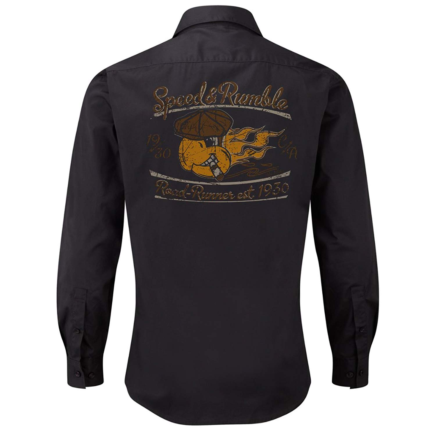 ROAD RODEO Rockabilly,Mechanic Work Shirt, Longsleeve, Rock'n'Roll, Parrot, V8, US Car, Speed and Rumble