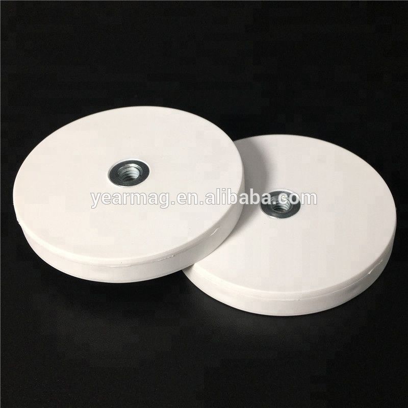 Nice Looking White Rubber Coated D43 Neodymium Pot Magnet with 13kg Holding Force