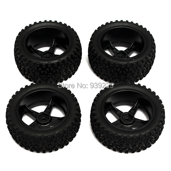 New 4Pcs/set 12mm Hub Wheel Rim & Tires HSP 1:10 Off-Road Front Rear RC Car