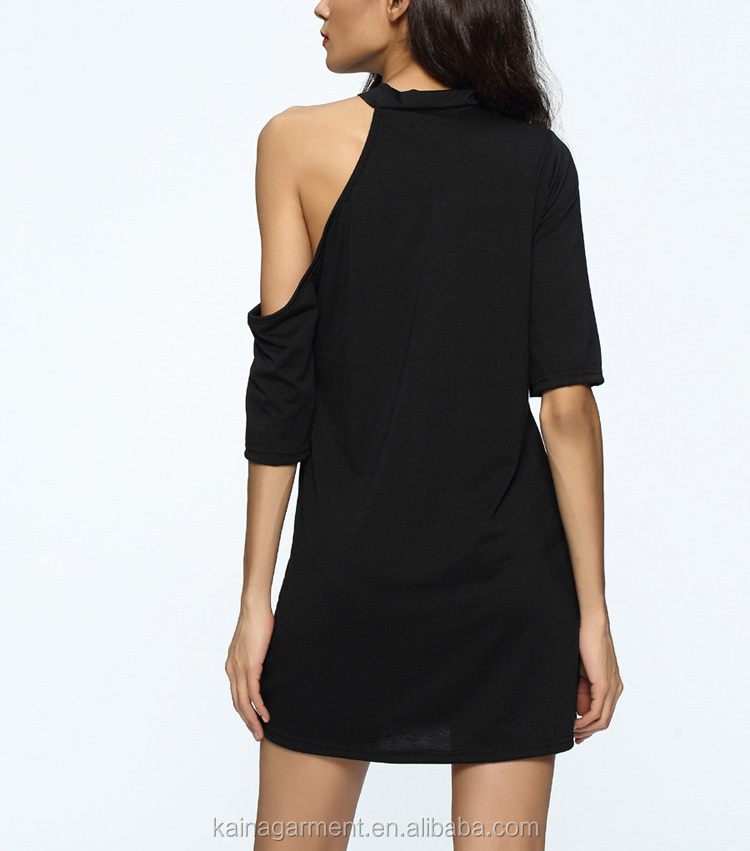 30c0486c64757 Bulk Wholesale Summer Fashion Sexy Casual t Shirt Dress Women Black Print  Off Shoulder Dress