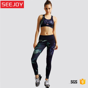 OEM women breathable yoga gym fitness workout sports bra and leggings sets