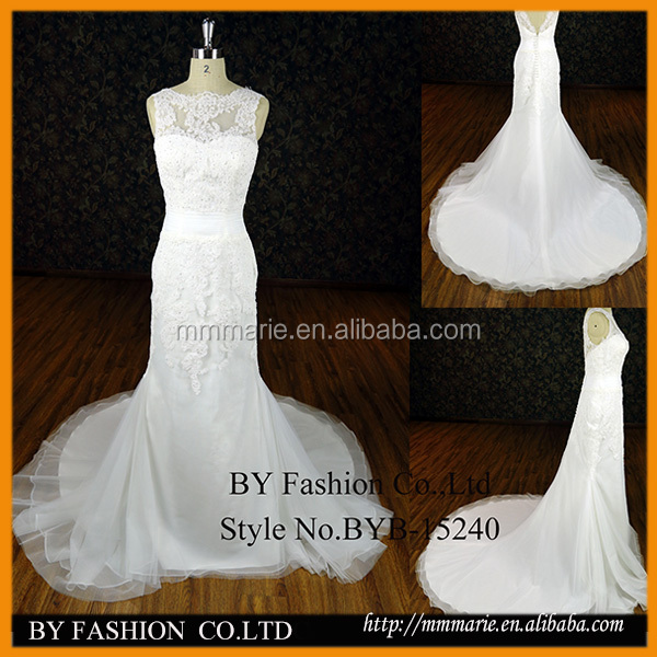 Stunning sheer neckline lace appliqued sexy back open real sample mermaid wedding dress