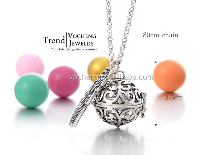Wholesale 10pcs/lot 3 colors vocheng eco friendly brass angel wing ball Necklace (VA-025) Free Shipping
