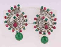 Jaipuri manufacturers CZ studded dangle ball earrings jewellery. Indian Party wear wedding jewelry. Brass metal.
