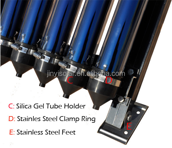 Top effciency solar collector with vacuum tube and aluminum frame