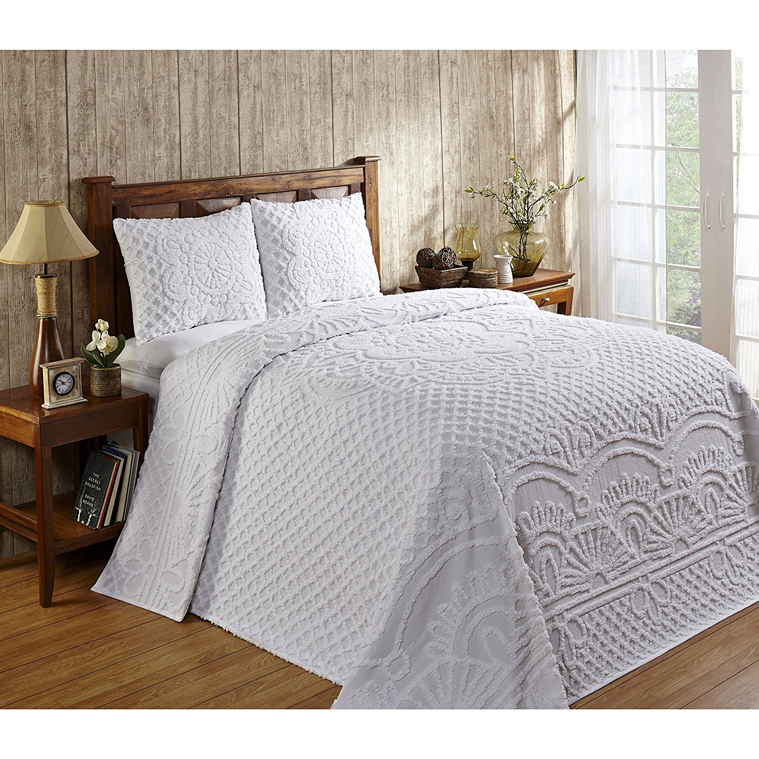 F&W 2 Piece White Chenille Geometric Tufted Pattern Bedspread Twin Set, Elegant High-Class Luxurious Rich Motif Textured Design, Reversible Bedding, Shabby Chic Country Style, Natural Color, Unisex