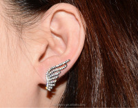 latest design pure 925 sterling silver jewelry gun black color white zircon stone angel's wing stud earring