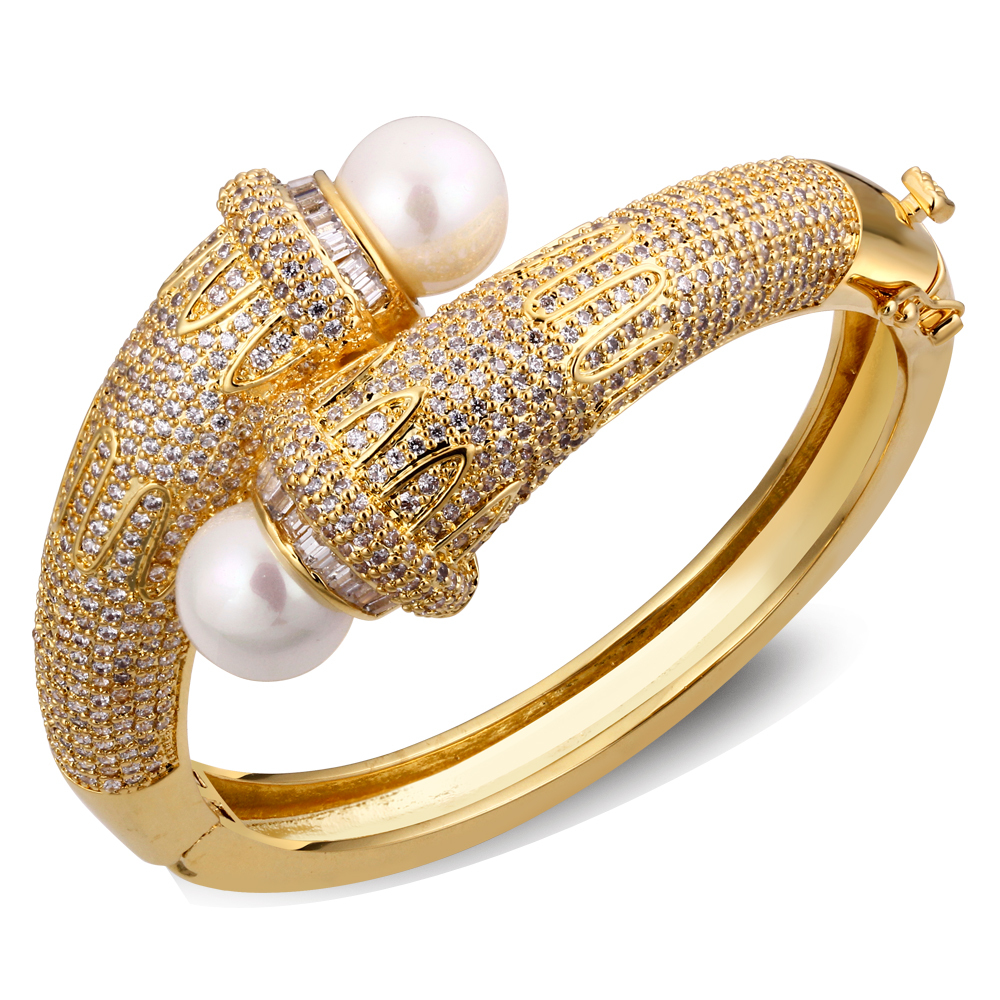 Buy Luxury Pearl bangles For Women Pave Setting Made with AAA ...