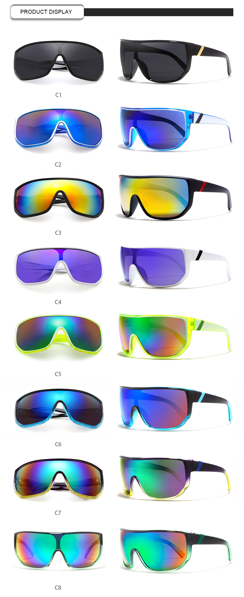 Fashion Gradient Custom Logo Big Frame Plastic Sports Men Sunglasses