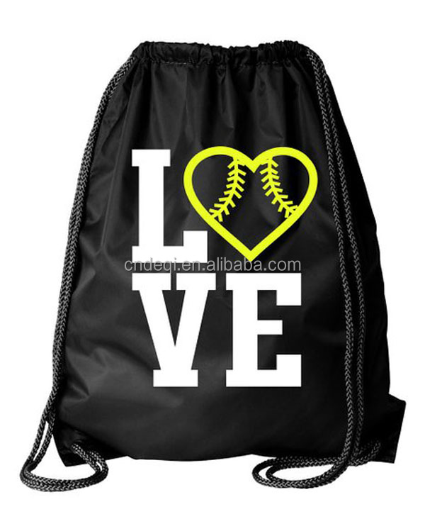 Love Softball Drawstring Bag With Heart Image American Market Fashion Personalized Sports Backpack