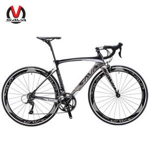 SAVA Carbon Road Bike, 700C Carbon Fiber Road Bicycle with 18 Speed Double V Brake, T800 Carbon Fiber Frame
