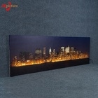 Modern city night view typographic wall picture interior frame with LED Light Canvas Painting