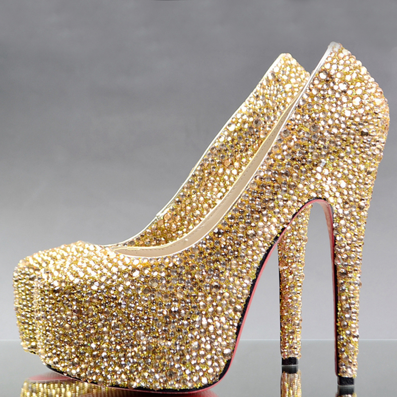 Gold Rhinestone Heels Fs Heel