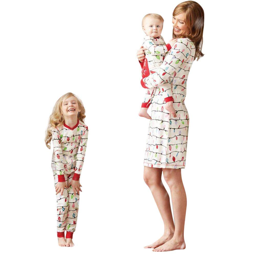 fe51bfaf79 Get Quotations · Jeeke Christmas Mommy and Me Clothes Sleepwear Kids Baby  Boy Girl Family Pajamas - Baby Boy