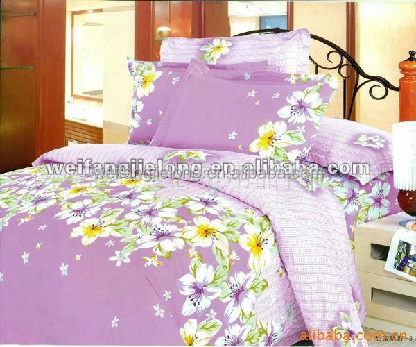 Weifang textiles 3D printed with big flowers polyester fabric in bedsheet