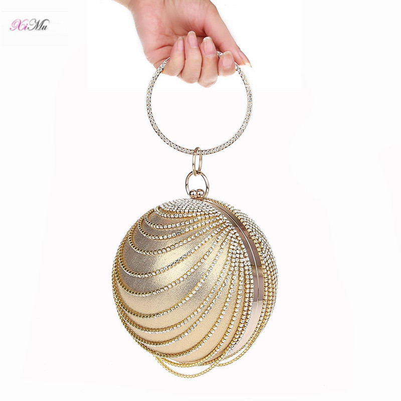 Woman Round Ball Clutch Handbag Rhinestone Ring Handle Purse Evening Bag -  Gold